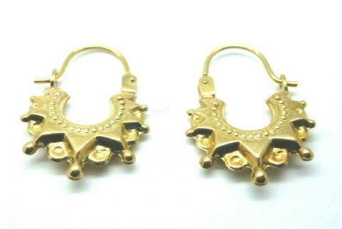 9ct Yellow Gold Vintage Victorian Style Spike Small Creole Hoop Earrings